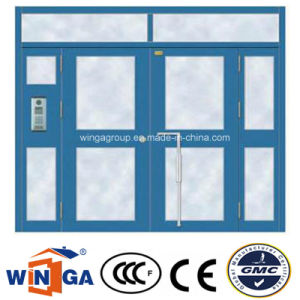 Biggest Size Opening Security Entrance Steel Glass Door (W-GD-34) pictures & photos