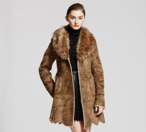 Popular Faux Chamois Leather Fur Coat for Women Qx-C02