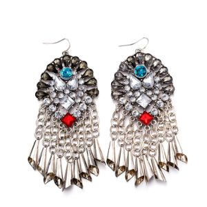 wholesale rhinestone earrings statement fashion chandelier long gem white