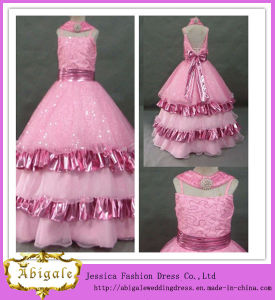 New Design A Line Organza with Sequins Spaghetti Straps with Bowknot Tiered Backless Floor Length Kids Girls Evening Dresses (LH0024)