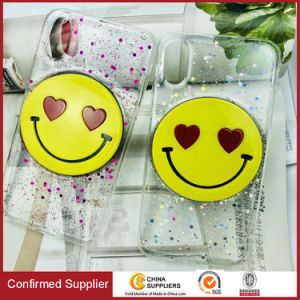Fashion Glitter Powder Rubber Drop TPU Smiling Face Mobile Phone Case