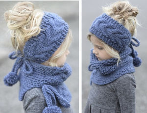 China Kids Baby Children Winter Headband Snood Beanie Hat Scarf Set ... 1b1f77efb99