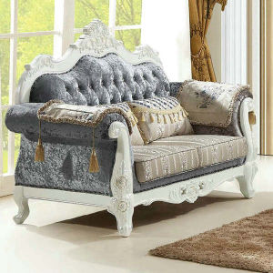 China White Color Royal Living Room Furniture Ice Velvet Fabric