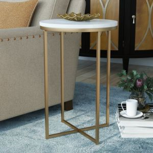 White Modern Round Metal Wrap Accent Coffee Tables with Golden Metal Base for Living Room