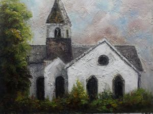 Handmade White Church Oil Painting For Home Decor