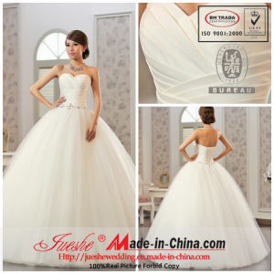 Sweetheart Neckline Satin Tulle Ball Gown with Beaded Belt (8974)