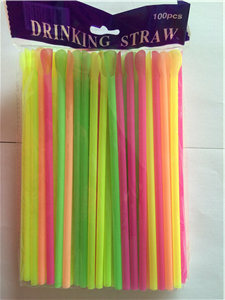 Hard Neon Plastic Spoon Drinking Straw pictures & photos