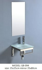 Tempered Glass Basin Vanity with Silver Mirror