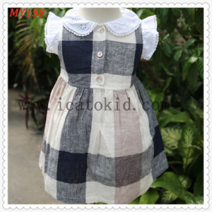 China Fly Sleeve Lap Dress Checkskirt Cotton Dress Baby Girl Party