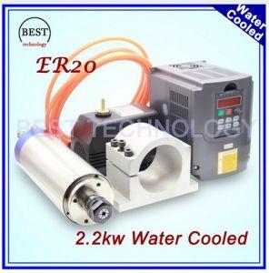 2 2kw water cooled cnc spindle motor er20 4 bearing & 2 2kw vfd / inverter