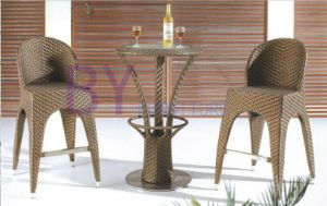 High Leg Bar Furniture with Two PE Rattan Chairs