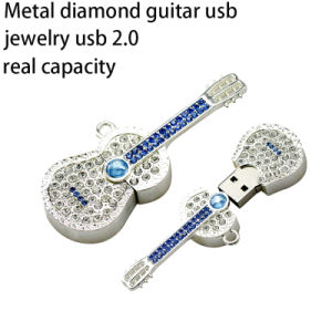 Diamond Crystal Guitar Jewelry Metal Necklace USB Flash Drive