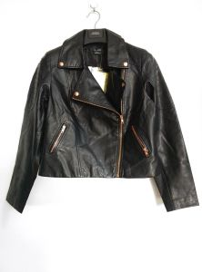 Women′s Slim Fit Leather Zipper Motorcycle Jacket, Fashion Clothing