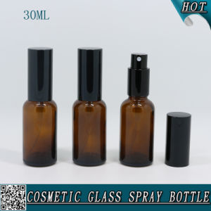 30ml Amber Glass Spray Bottle with Mist Sprayer for Cosmetic Water Rose Water pictures & photos