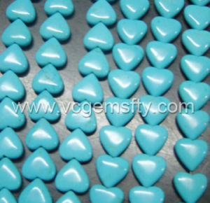 Turquoise Puff Heart Beads