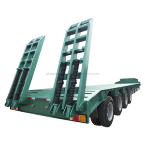 4 Axles Low Bed Semi Trailer 100-120 Tons Heavy Duty pictures & photos