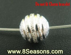 Silver Plated Stardust Spacers Beads Findings 8mm Dia. (B03534)