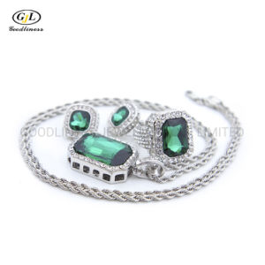 Hot Sale Hip Hop Jewelry Set Gem Ring Earring Pendant Necklace Bling Jewellery