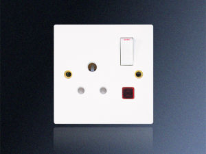 1 Gang 5 AMP Round Pin Switched Socket with Neon