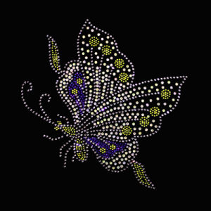 Custom Colorful Bling Butterfly Transfer Rhinestone Hotfix Motifs