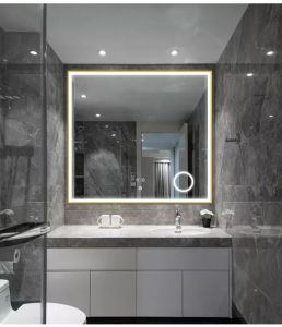 China Square High Level Smart Golden Framed Led Bathroom Vanity Mirror China Hotel And Apartment Mirror Plywood Mirror Cabinet For Motel And Apartment