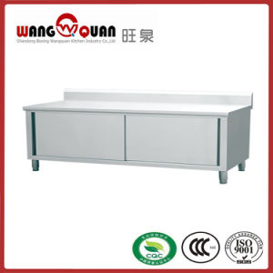Commercial Kitchen Swing Door Stainless Steel Worktable with Splashback pictures & photos