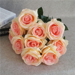 Factory Direct 10 Head Wedding Fabric Flower Silk Rose Bush for Wedding Arrangement