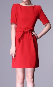 Red Short Sleeve Elegant Cocktail Dress (XYD-084)