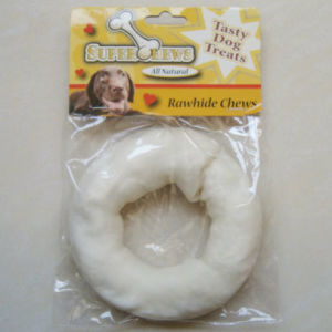 "Pet Products 5""-6"" White Puffy Donut Dog Chew"
