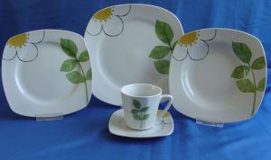 Porcelain Dinner Plate, Cup with Saucer, Dinner Set