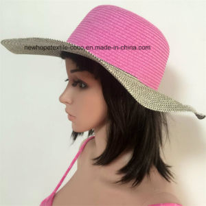 100% Paper Straw Hat, Fashion Contrast Col with Weaving / Mteal / String Style