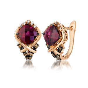 Gold Plated Hoop Earrings 925 Silver Jewelry with Garnet pictures & photos