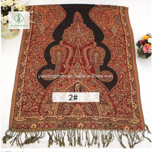 2017 Fashion Lady Pashmina Jacquard Shawl with National Style Scarf pictures & photos