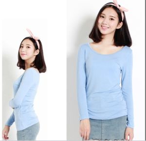 Woman Clothes 2015 Long Sleeve Women Plain Cotton Blouse pictures & photos