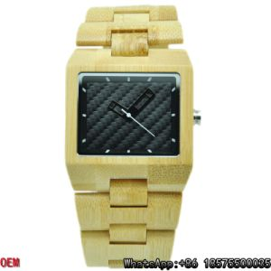 Top-Quality Maple Bamboo Square Wooden Watches Quartz Watches Hl10 pictures & photos