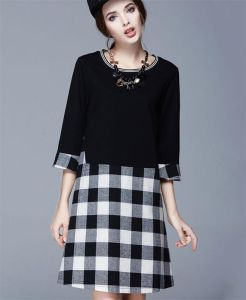 2015 Large Size Seven Point Sleeve Dress/Plaid Dress for Women in Autumn and Winter D1599 pictures & photos