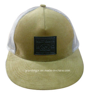 Customized Corduroy Flat Brim Trucker Cap with PVC Rubber Logo pictures & photos