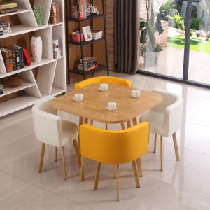 China New Design Modern Dining Room Furniture Leather Chair Glass Top Dining Table Set 4 Chairs Hot Sale Modern Dining Room Furniture China Melamine Table Sets Dining Room Furniture