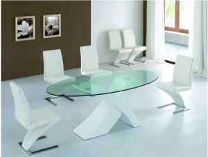 """X""Shape Glass Dining Table and""Z"" Shape Chair"