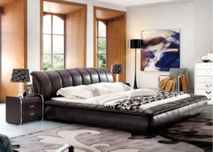 Luxury Modern Genuine Leather Bed 633#