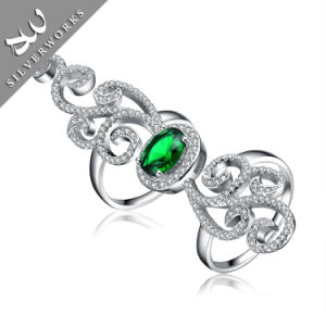 Fashion 925 Silver with Green Diamand Gemstone Lady Ring Siver Charm