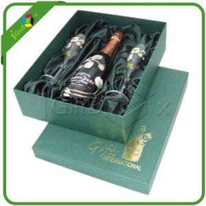 Custom Design Rigid Gift Boxes For Wine Bottle Glasses