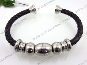 New Design Stainless Steel with Leather Bracelet Wholesale for Woman