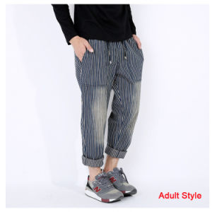 Family Stripe Denim Pant Ankle Banded Pants pictures & photos