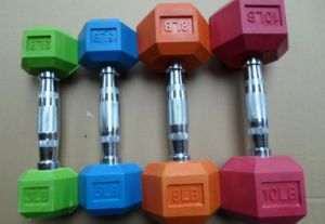 Colorful Fitness Hex Rubber Dumbell pictures & photos