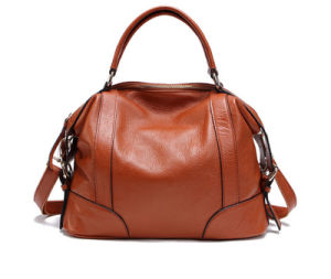 Summer Latest Genuine Leather European Fashion Simple Classic Leisure Cowhide Lady′s Handbag