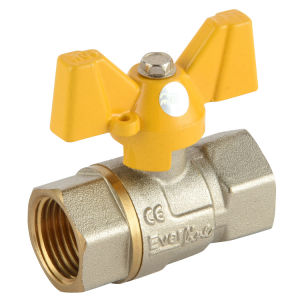 Anticorrosion Coating Nut Brass Ball Valve with Butterfly Handle