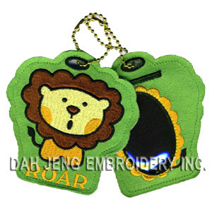 Lion Embroidered Luggage Tag Suede Fabric