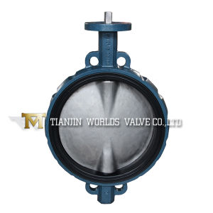 Pn10/16 Ductile Iron Bare Shaft Rubber Resilient Seat Wafer Butterfly Valve (D371X-10/16)