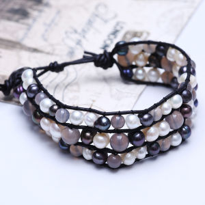 Pearl Leather Jewelry Bracelet with Handmade New Style pictures & photos